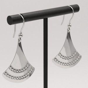 """NEW! Sterling Silver Fan Earrings 1 3/4"""" long"""
